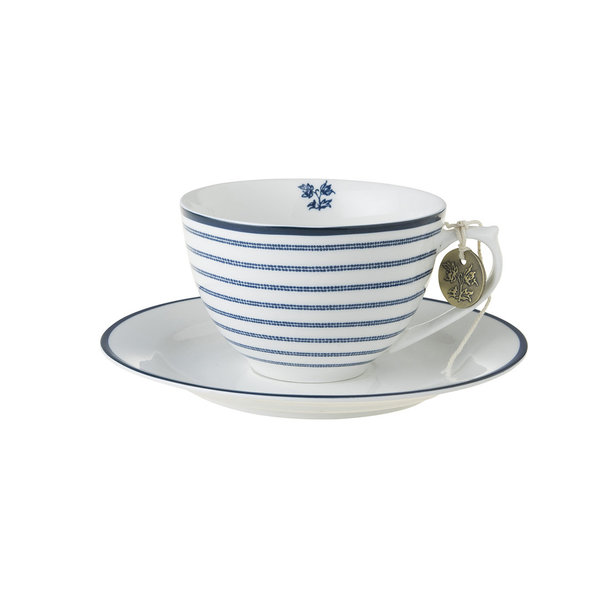 Laura Ashley Cappuccino Tasse mit Unterer Candy Stripe
