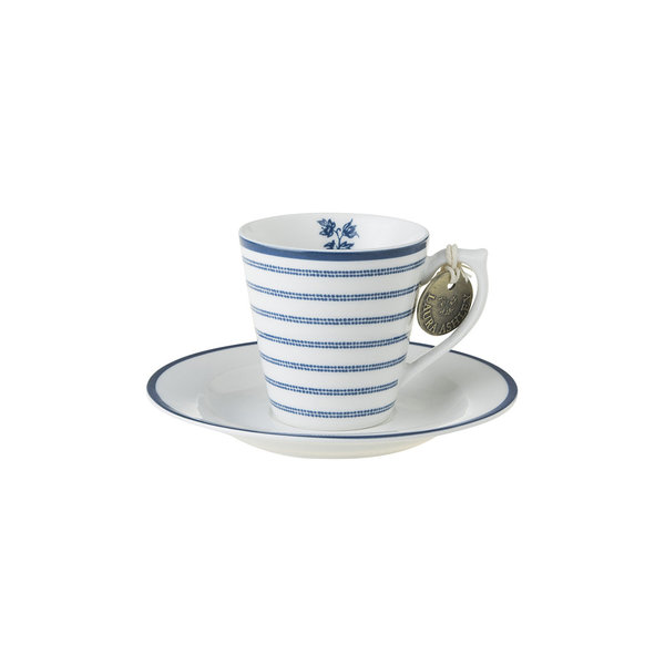 Laura Ashley Espresso Tasse mit Unterer Candy Stripe
