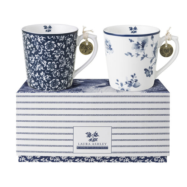 Laura Ashley  2-er Becher/Mugs (0,32 l) Set  Sweet Alysum & China Rose in Geschenkverpackung