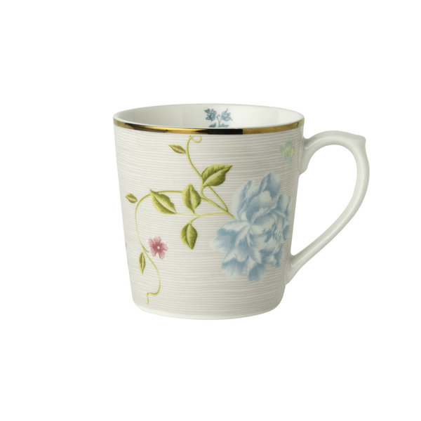 Laura Ashley Becher/Mug   0,32 l Cobblestone Pinstripe  H 9ch, D 8 cm