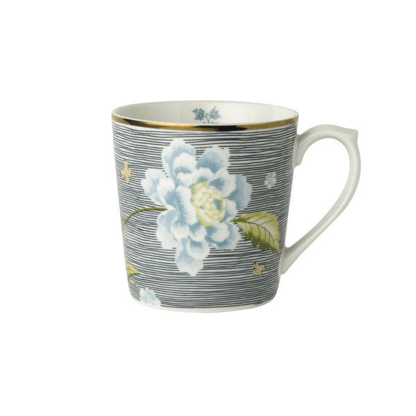 Laura Ashley Becher/Mug   0,32 l  Midnight Pinstripe H 9 cm, D 8cm